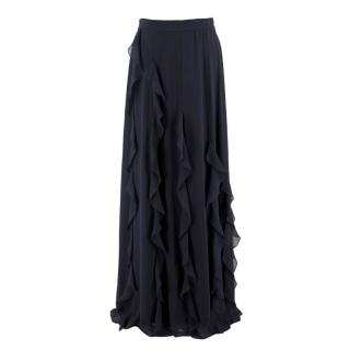 MaxMara Navy Ruffled Silk Long Skirt
