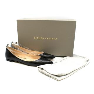 Bionda Castana Black Studded T-Bar Strap Elle Flats