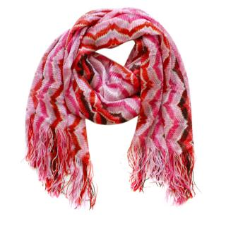 Missoni pink zig-zag knit scarf