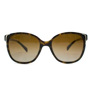 Prada Brown Patterned Round Sunglasses