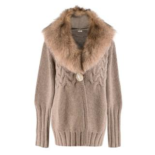 Agnona Brown Fox-Fur Collar Cashmere Knit Jacket