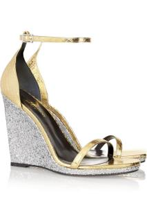 Saint Laurent Jane glittered elaphe wedge sandals