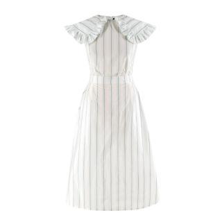 Calvin Klein 205W39NYC White & Green Striped Midi Dress