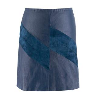 Stouls A-line Blue Leather and Suede Skirt
