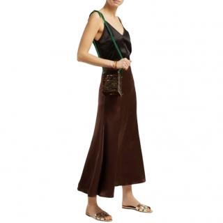 Albus Lumen Brown Silk-Satin Midi Skirt