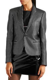Saint Laurent Black & White Striped Jacquard Blazer