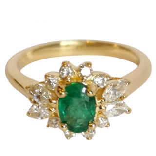Diamond & Emerald Cluster Ring 18ct Gold