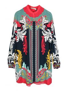 Mary Katrantzou crepe de chine multi-colour silk dress