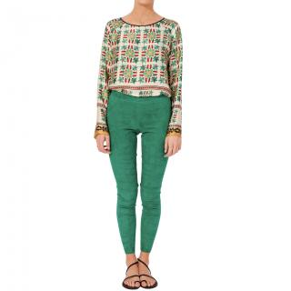 Stouls Green Suede Leather Leggings