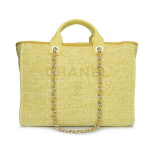 Chanel Large Yellow Canvas Deauville Tote