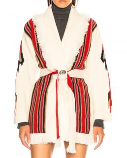 Alanui Chimayo Oversized Jacquard Cardigan in Lapponia White