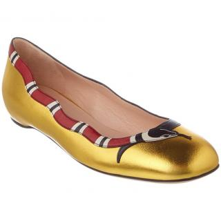 Gucci metallic leather snake ballet flats