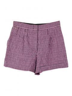 Nina Ricci check crepe effect wool blend shorts
