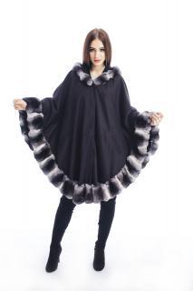 FURBY SD Luxury natural cashmere and chinchilla fur trim cape poncho