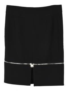 McQ straight detachable zip hem fleece wool skirt