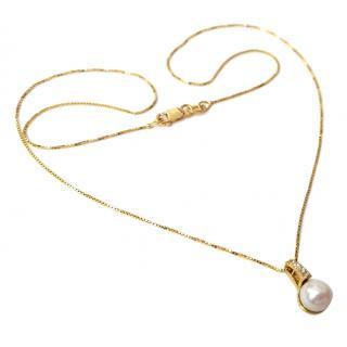 Bespoke Pearl & Diamond Pendant 18ct Gold