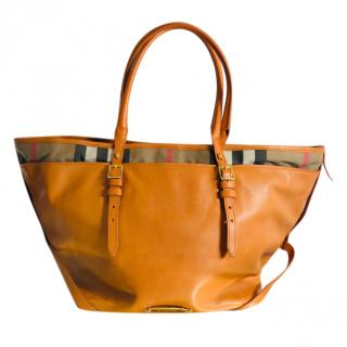Burberry Orange Leather Shoper