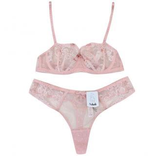 Aubade Paris Sugar Pink Leavers Lace Half Cup Bra & Tanga Set