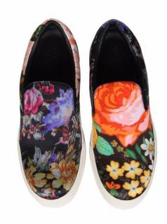 Balenciaga Floral Print Satin Slip-on Sneakers