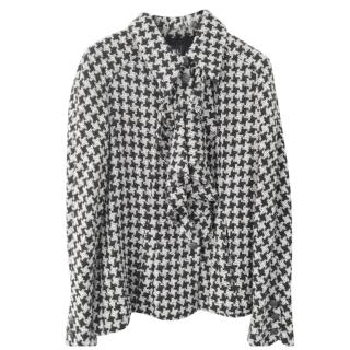 Chanel houndstooth silk and wool jacket