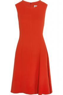 Jil Sander Red Pleated Silk Crepe Dress