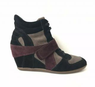ASH Bowie Black & Burgundy Suede Hi-Top Wedge Trainers