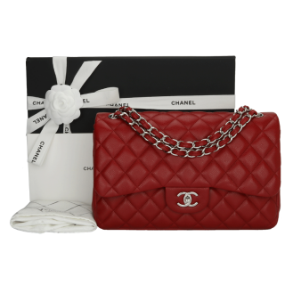 CHANEL Red Caviar Double Flap Jumbo  Bag