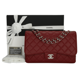CHANEL Red Caviar Single Flap Jumbo Bag