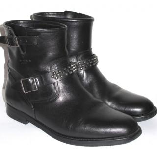 Saint Laurent YSL Black Leather Stud Biker Ankle Flat Boots 39.5