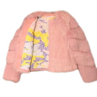 Saks Potts Pink Fox Fur Jacket