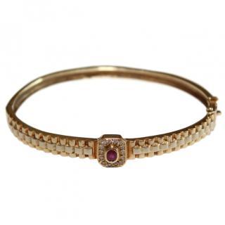 Bespoke Diamond Ruby & 18ct Gold Bangle