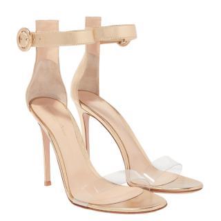 Gianvito Rossi Portofino PVC & leather gold sandals