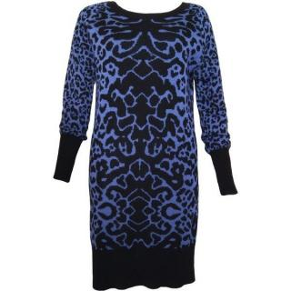 Alice by Temperley Blue Black Leopard Print Merino Wool Jumper Dress