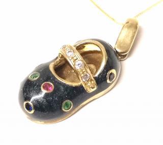 Bespoke Emerald, Sapphire & Ruby Enamel Shoe Pendant