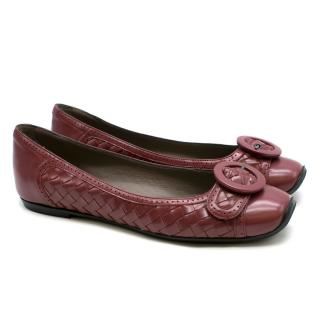 Bottega Veneta Intrecciato Leather Flat Pumps