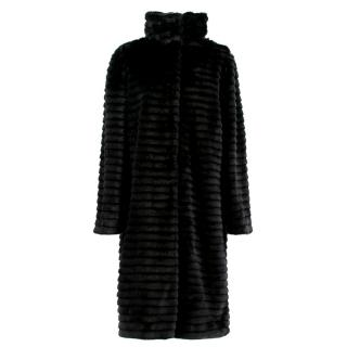 Liu-Jo Black Shaved Faux Fur Coat