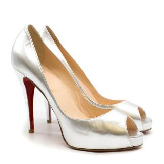 Christian Louboutin Very Prive Silver Peep Toe Pumps