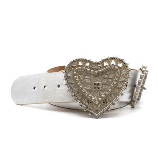 Givenchy Silver Heart Buckle Leather Belt