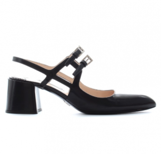 Prada Double Buckled Patent Leather Mary-Jane Pumps