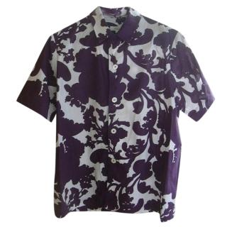 A.P.C. Purple & White Abstract-Print Shirt