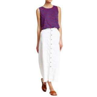 Current Elliott White Denim Midi Skirt