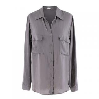 L'Agence Grey Silk Blouse Shirt