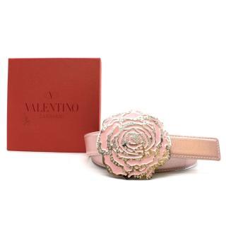 Valentino Metallic Pink Flower Buckle Belt