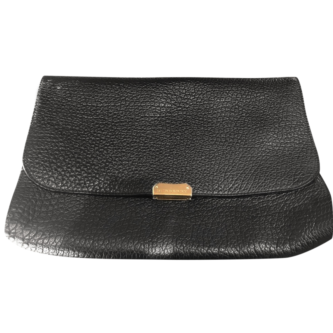 15f51932c4a4 Burberry Black Grained Leather Clutch
