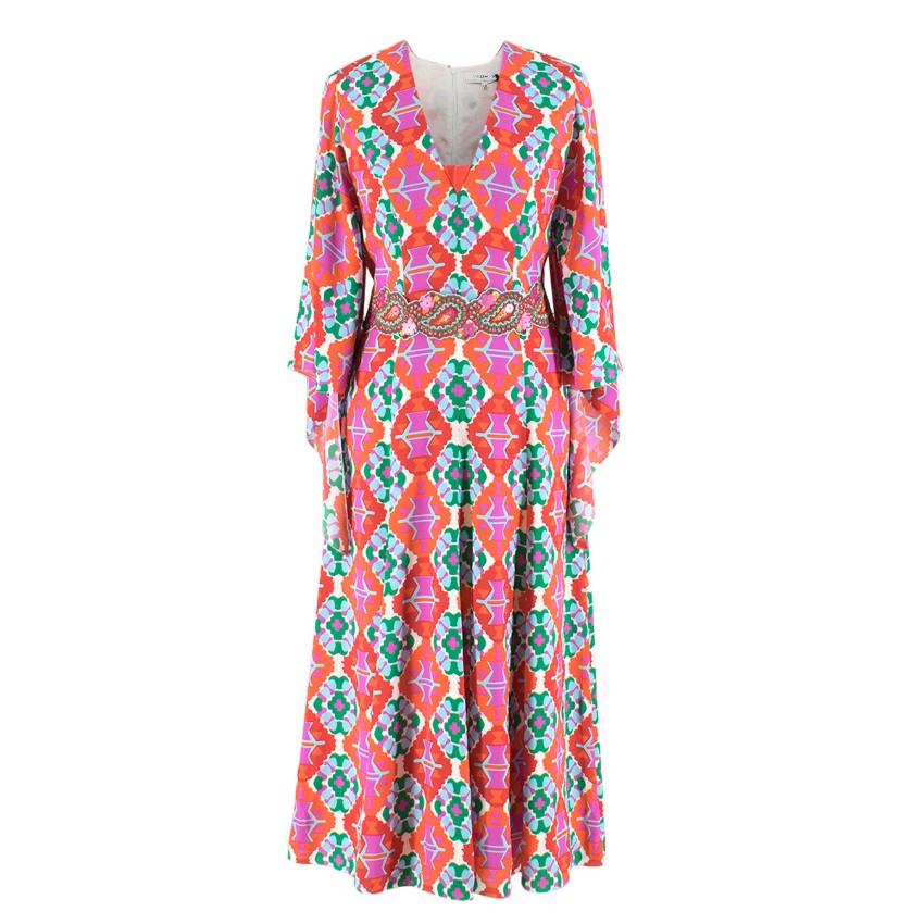 Andrew Gn Printed Long Silk Dress