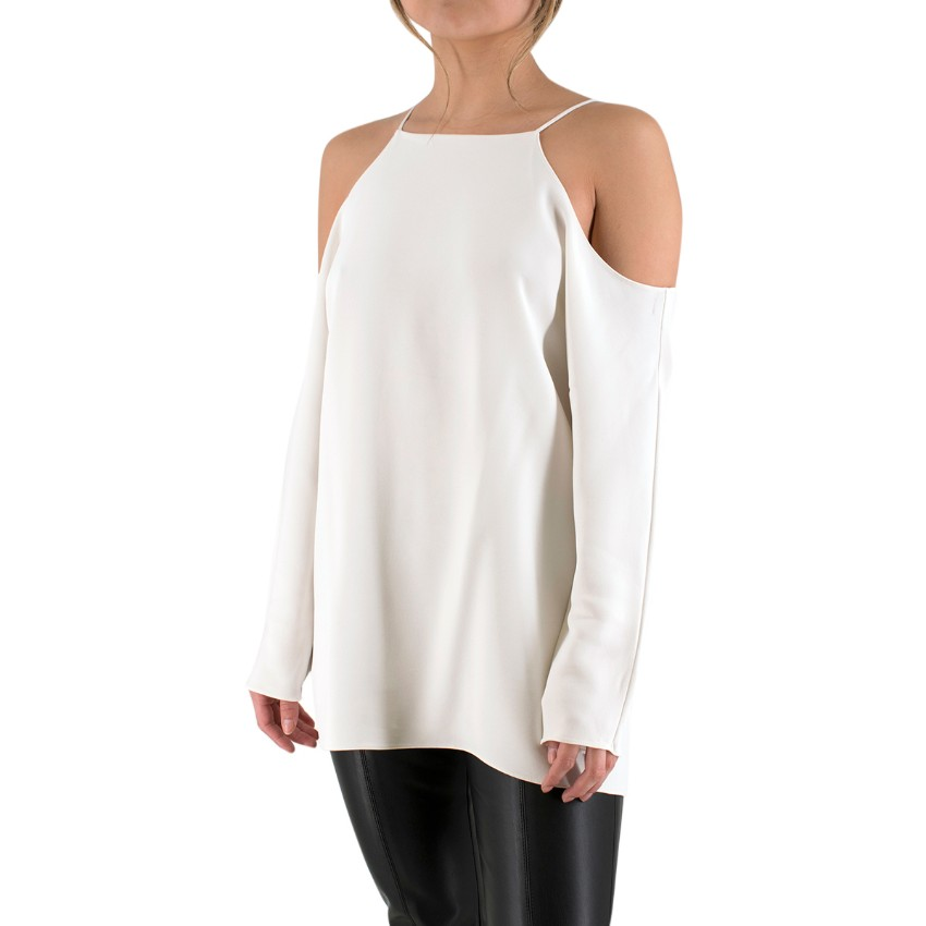 The Row Cold-Shoulder White Crepe Top