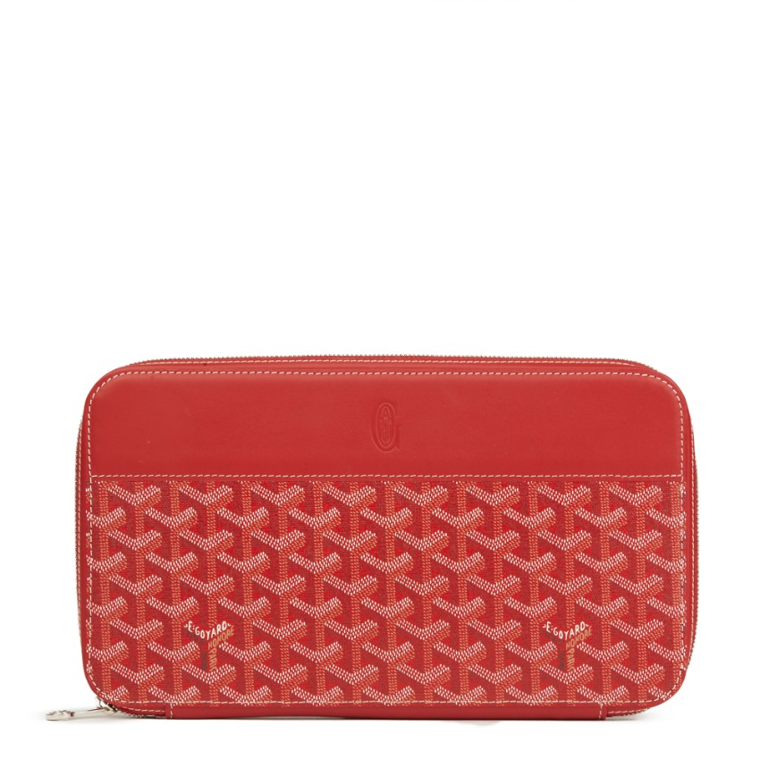 Goyard Coated-Canvas Red Chevron Opera Wallet