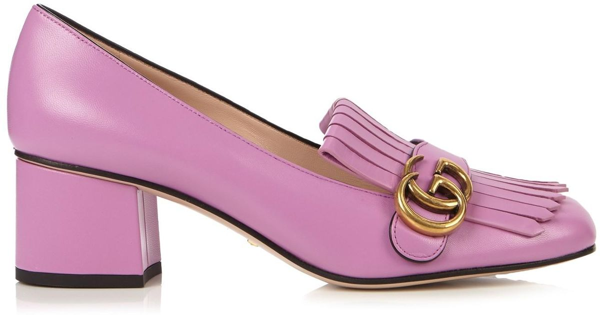 e8c73f5aa7e Gucci Marmont Fringed Leather Pink Loafers