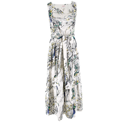 Leona Edmiston Peacock Print Midi Dress