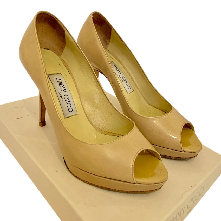 Jimmy Choo cream patent leather open-toe pumps